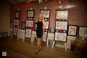 Artist Marat Showcasing Her Stunning Pink Collection At Chima Brazilian Steakhouse In Vienna.